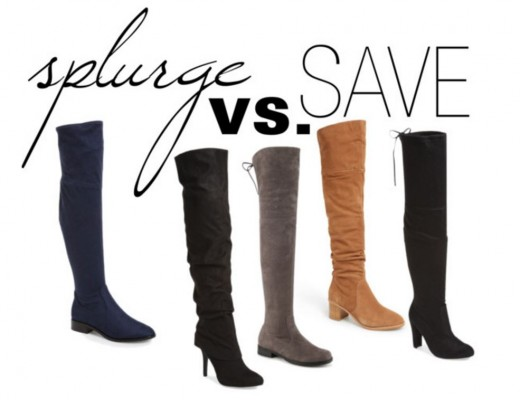 splurge versus save suede over the knee boots