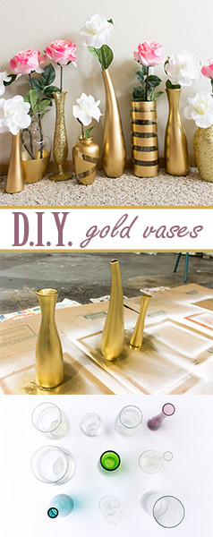 DIY gold and glitter vases